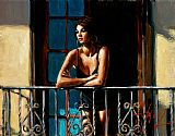 Fabian Perez Saba at the Balcony VI Light Walls painting